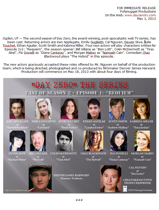 Day Zero Season 2 Cast Press Release