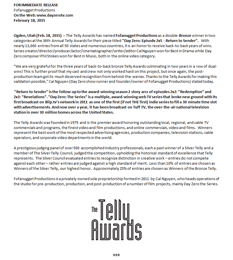 Day Zero press release bronze telly award 2015