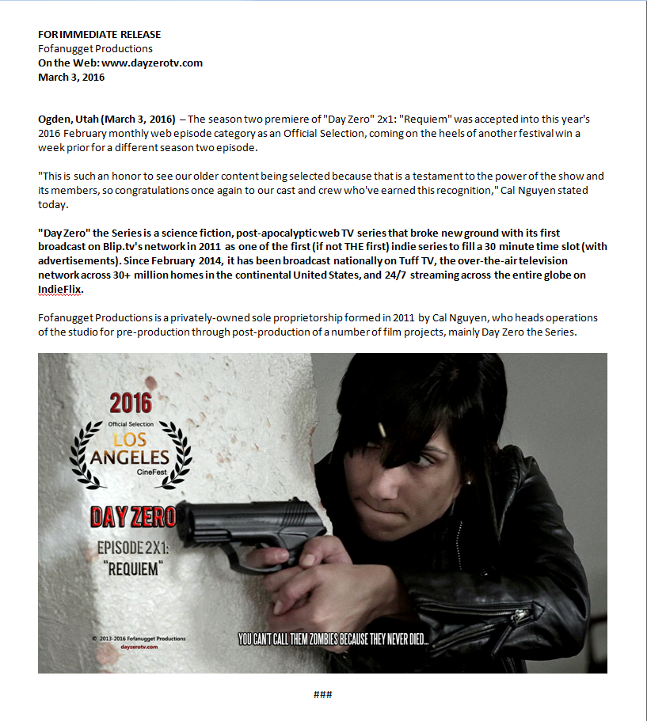 day zero requiem official selection film fest los angeles cinefest 2016 press release