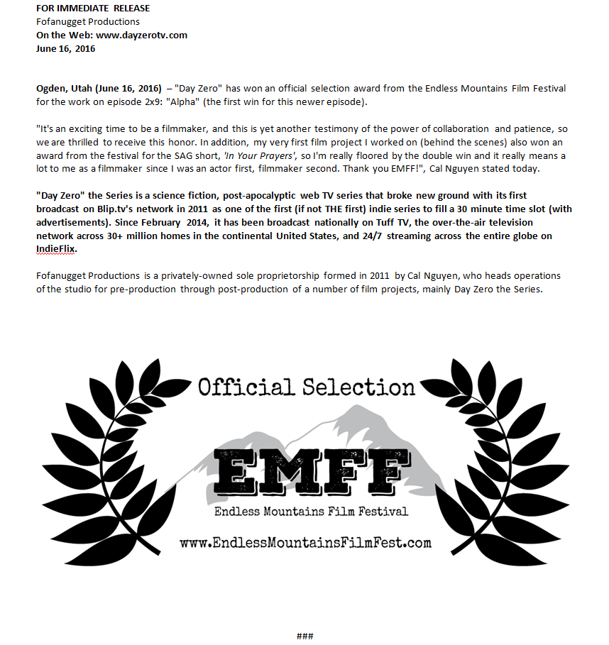 day zero emff endless mountains film festival day zero alpha episode season award official selection accepted acceptance new york Pennsylvania webseries tv television series show scifi science fiction apocalypse