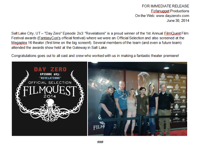 Day Zero Revelations episode tv television web series apocalyptic sci-fi award filmquest film festival winner official selection screening megaplex theater salt lake utah