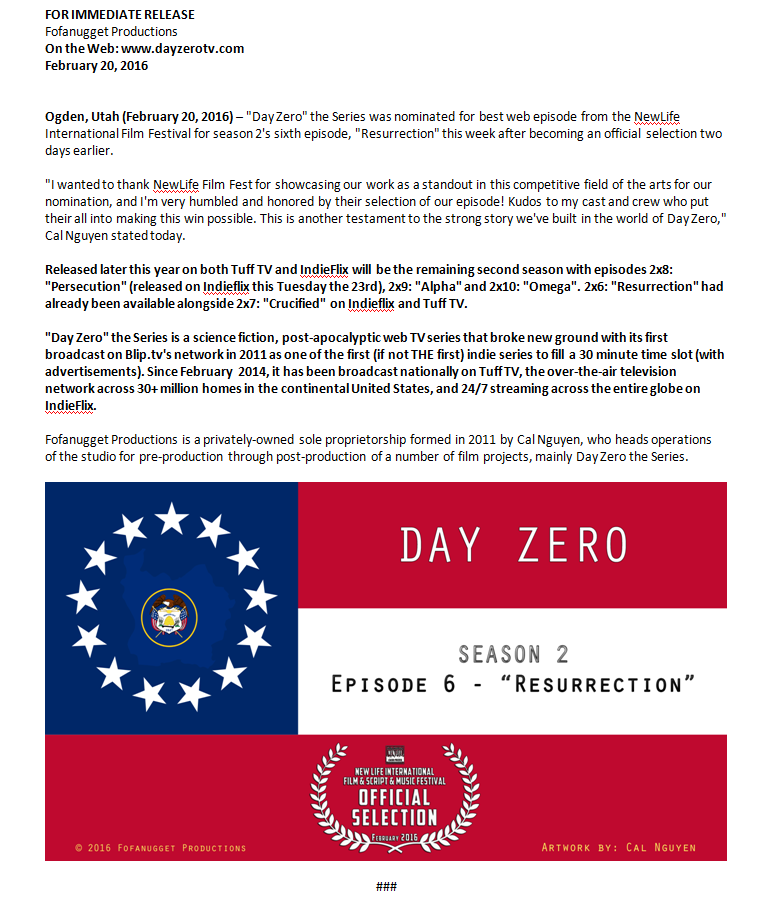 day zero resurrection newlife film festival nomination nominee