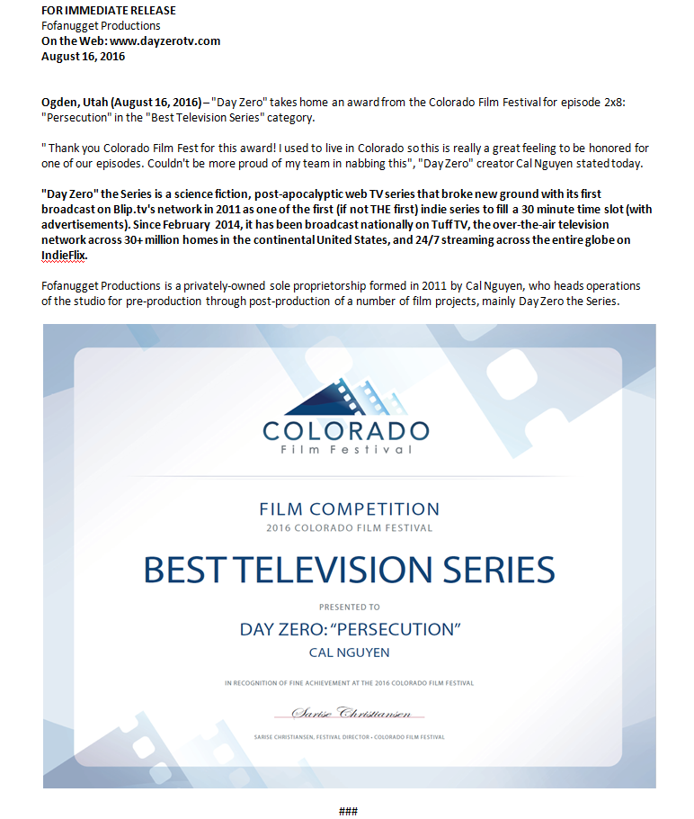 day zero series scifi apocalypse apocalyptic colorado film fest win award press release persecution